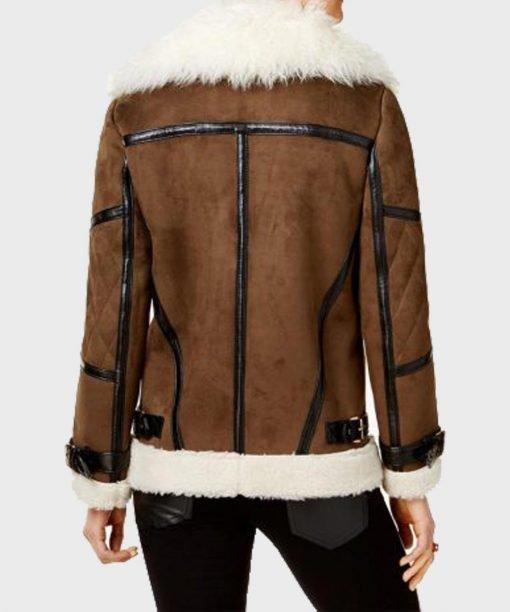 Women's Faux Fur Shearling Cuffs Leather Jacket Back