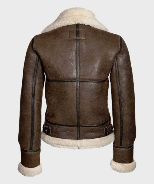 Women's Distressed Brown Real Shearling Jacket