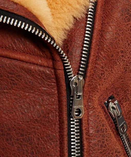 Women's Classic Brown Shearling Leather Jacket