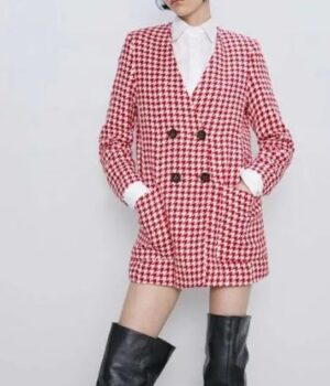 Emily Cooper Emily In Paris Hounds Tooth Coat