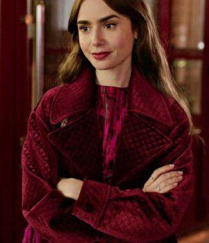 Emily In Paris Maroon Velvet Jacket Emily Cooper