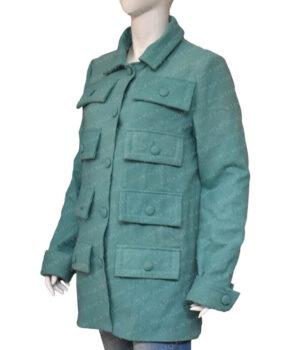 Emily In Paris Emily Cooper Green Multi Pocket Coat Left Side