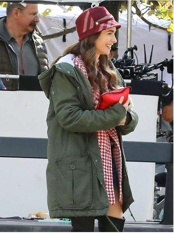 Emily In Paris Emily Cooper Hooded Cotton Coat