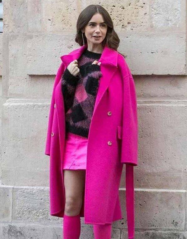 Emily In Paris Pink Coat Emily Cooper
