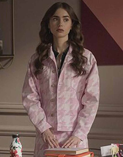 Emily In Paris Pink Hounds Tooth Jacket Lily Collins