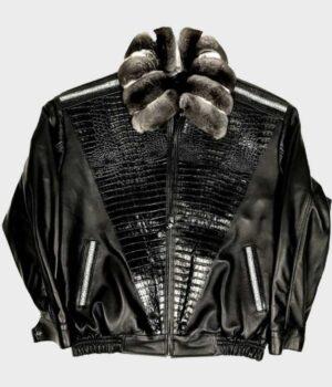 Frank Sheepskin Black Jacket with Chinchilla Collar