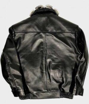 Frank Sheepskin Black Jacket with Chinchilla Collar Back