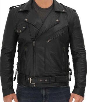 Lucas Asymmetrical Black Motorcycle Leather Jacket Men