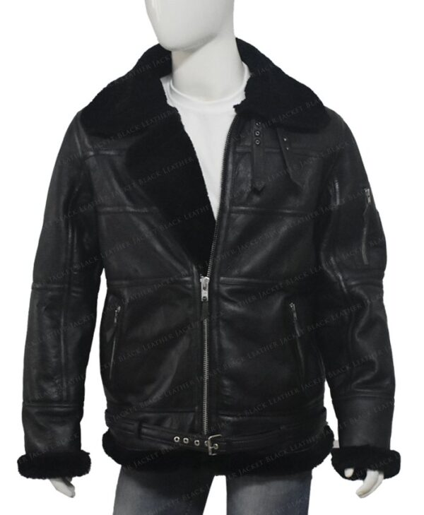 Men Aviator Sheepskin Soft Shearling B16 Jacket