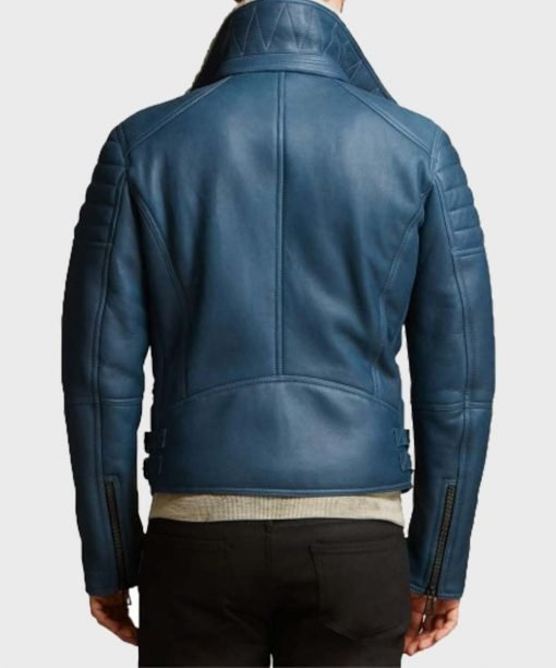 Men's Shearling Blue Pure Leather Jacket