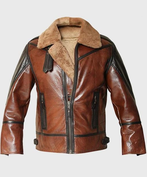 Mens Aviator B3 Distressed Shearling Brown Jacket
