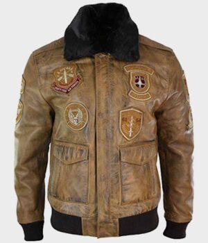 Aviator Tan Bomber Jacket