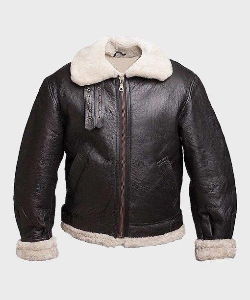 Mens B3 Aviator Black Leather Jacket