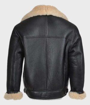 Men's Shearling Black Real Leather B3 Jacket