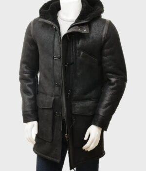 Men's Sheepskin Black Duffle Coat