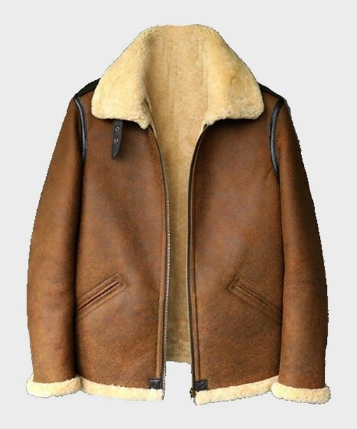 Mens B3 Shearling Brown Leather Jacket