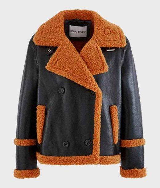 Mens Brown Sheepskin Real Leather Black Jacket
