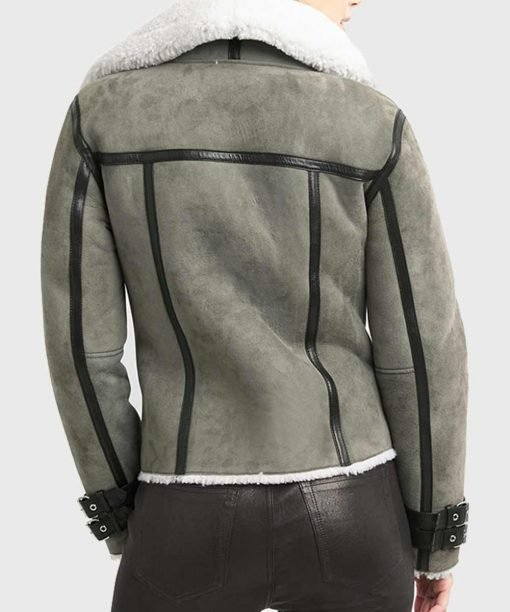Men's Shearling Real Grey Leather Jacket