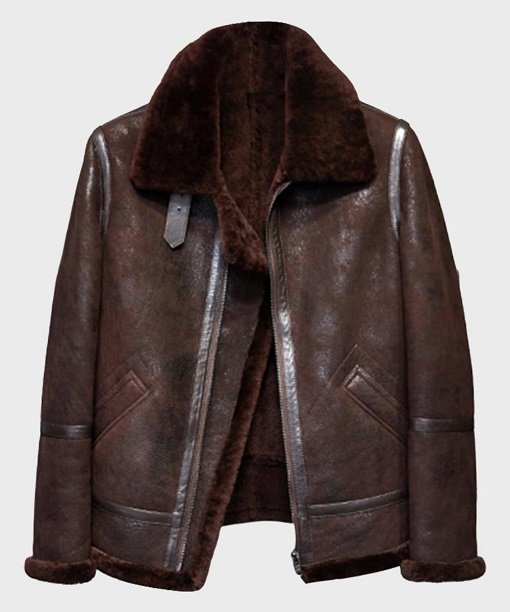 Mens Distressed B3 Brown Shearling Leather Jacket
