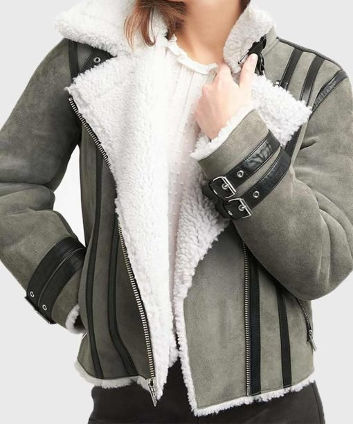 Mens Grey Leather Shearling Jacket