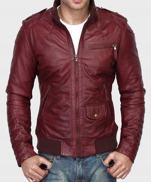 Men's Kevin Burgundy Real Leather Jacket