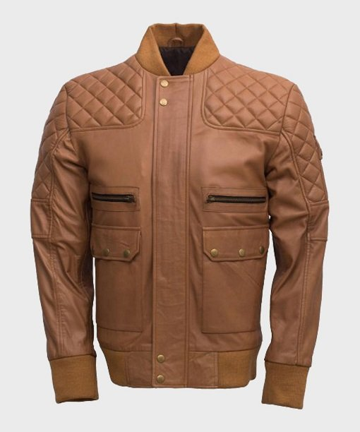 Men's Quilted Tan Brown Rib-Knit Leather Jacket