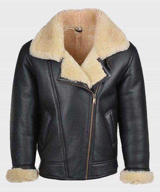 Mens Shearling Black Real Leather B3 Jacket