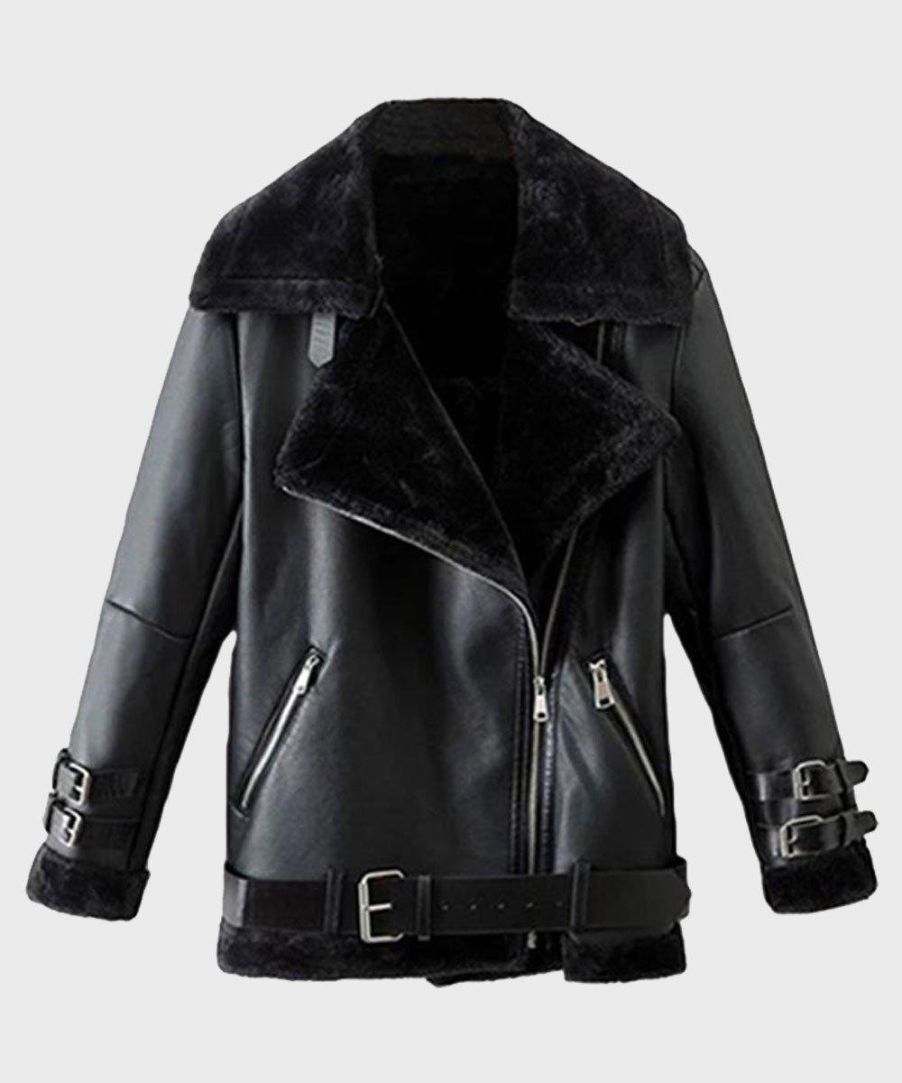 Mens Shearling Black Winter Leather Jacket