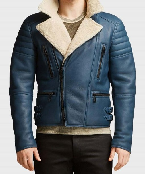 Mens Shearling Blue Real Leather Jacket