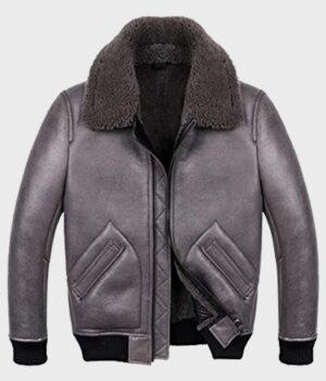 B2 Shearling Grey Leather Jacket