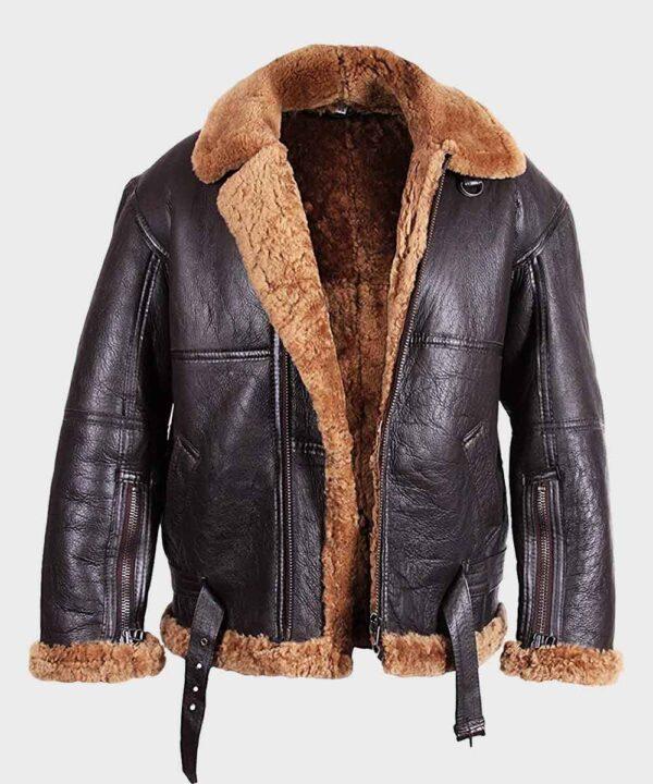 Mens Sheepskin Flying B3 Brown Shearling Jacket