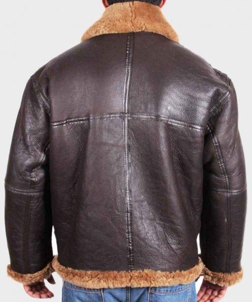 Mens Sheepskin Flying B3 Brown Shearling Jacket Back