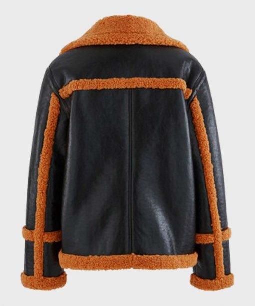 Men's Brown Sheepskin Shearling Leather Black Jacket