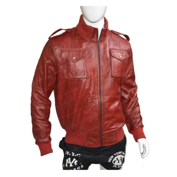 Mens The Red Bomber Leather Jacket