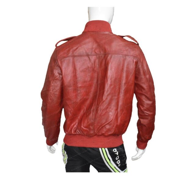 Mens The Red Bomber Leather Jacket Back