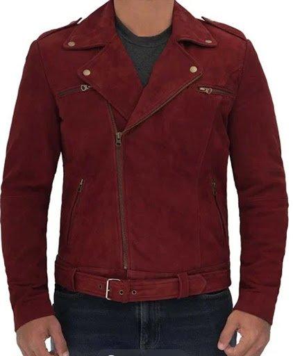 Sean Suede Maroon Biker Jacket Men
