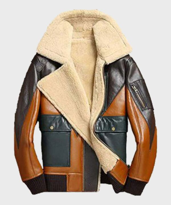 Sheepskin Mens Shearling Bomber Leather Jacket