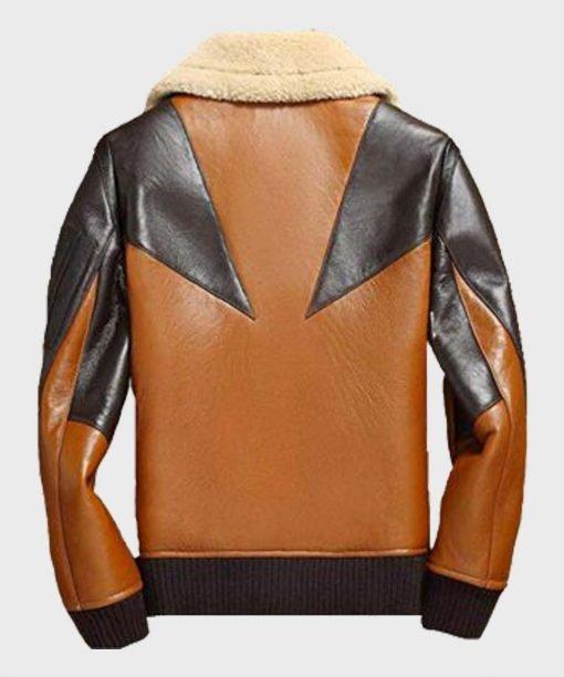 Sheepskin Mens Shearling Bomber Leather Jacket Back
