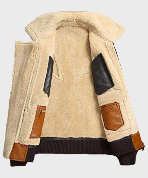 Sheepskin Mens Shearling Bomber Leather Jacket Inside