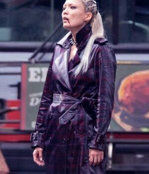 purple Pom Klementieff Thunder Force 2021 Coat