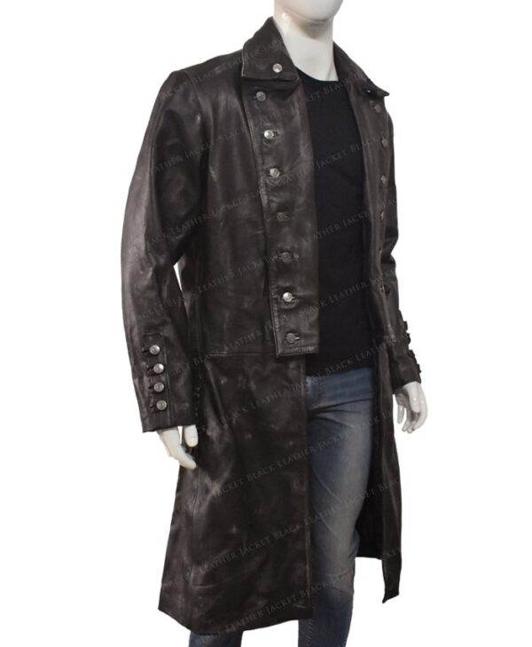 Jamie Frasers Outlander Rust Brown Leather Coat Right