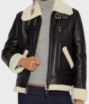 Women's Aviator Ivory Real Leather Jacket