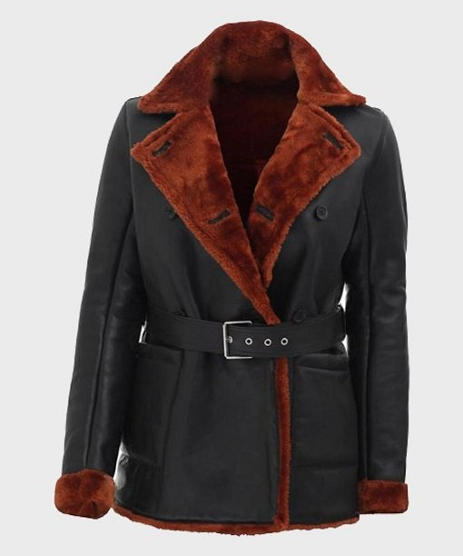 Womens Black Belted Shearling Leather Coat