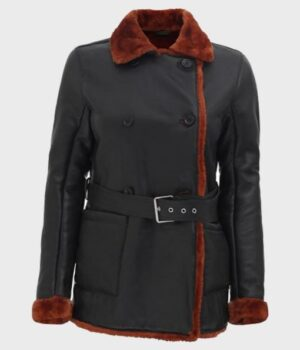 Women's Black Belted Shearling Real Leather Coat