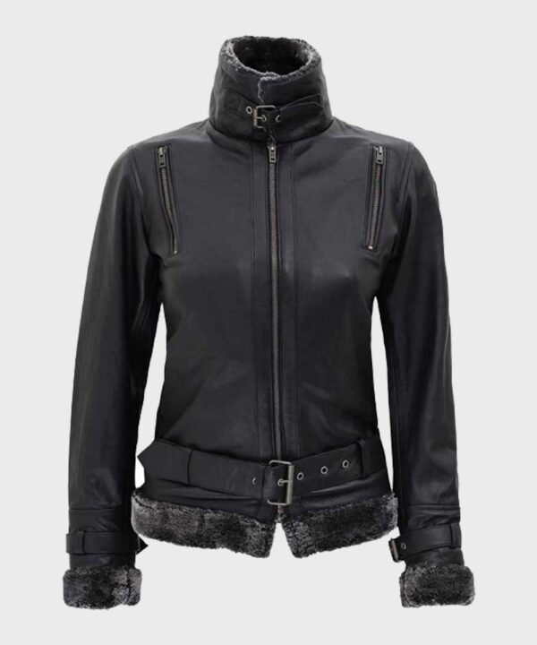 Womens Black Leather Shearling Jacket