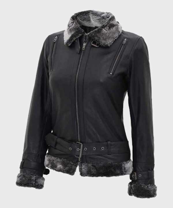 Black Shearling Womens Leather Jacket
