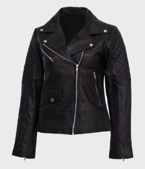 Women's Black Quilted Shoulder Black Leather Jacket