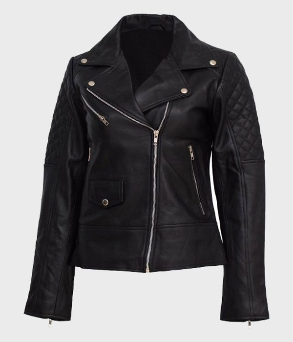 Womens Black Quilted Shoulder Real Leather Jacket