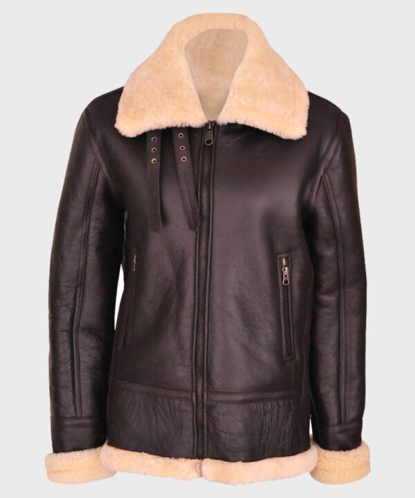 Womens Brown B3 Shearling Leather Jacket