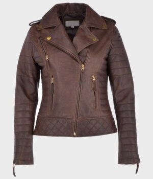 Women's Biker Brown Distressed Leather Jacket